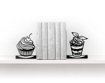 Kitchen decor Bookends Dessert Book ends Metal bookend Book shelf decor Housewarming gift Book lover gift Book end - black