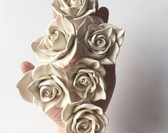 Set of Six Clay Wall Flower Decor