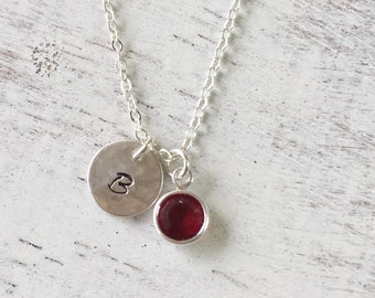 Initial birthstone necklace,Mother's day gift,Bridesmaid's gift,personalized necklace,birthstone necklace,swarovski crystal,birthday present