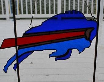 Stained glass Buffalo Bills suncatcher, wall hanging
