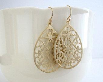 Gold Cutout Teardrop Earrings, Matte Gold Filigree Earrings, Gold Teardrop Earrings, Gold Dangle Earrings - 14K Gold Filled Ear Wires