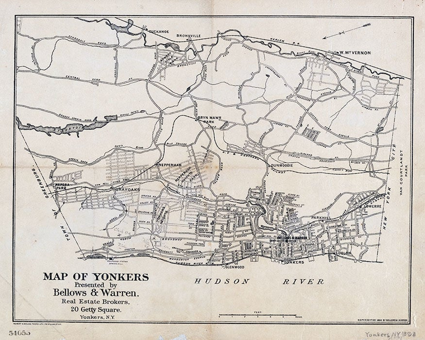 1893 Map of Yonkers Westchester County New York