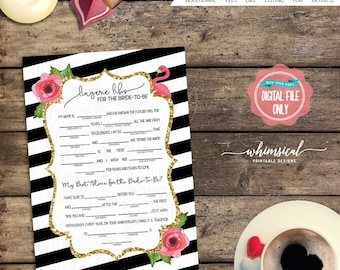 "Lingerie Mad Libs Game ""Flamingo"" (Printable File Only) Lingerie Shower, Lingerie Libs, Shower Games, Digital Game Card, Flamingos, Striped"