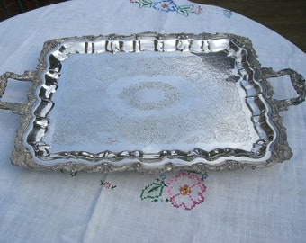 Tray - Footed Waiter - Silver Plate - Rectangular - Vintage