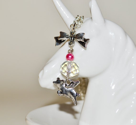Flying Pig Necklace, Kitsch Jewelry, Pig Jewelry, Cute Necklace, Pigs Might Fly, Flying Pig Pendant, Silver Pig Charm Necklace, Animal Charm