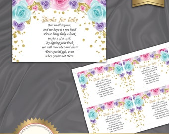 Book Request Card, Baby Shower Book Request, Bring A Book Instead Of A Card, Little Pincess, Pink, Gold, Roses - Instant Download, BSG01