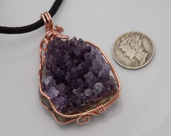 Small Amethyst Cluster Wire Wrapped Pendant in Bare Copper Wire Wrapped Jewelry Handmade Crystal Healing Cosplay Fantasy
