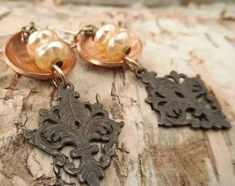 Domed Penny and Pearl Earrings