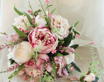 Elise - Wedding bouquet, cute cottage style posy of peonies, ranunculas and wildflowers.