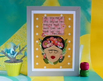 Frida Kahlo print - At the end of the day quote with embroidered face - A4 print