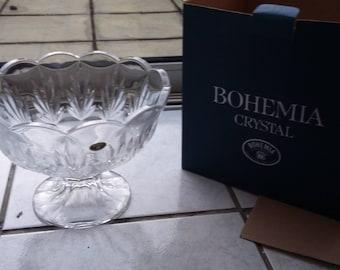 Massive Heavy Bohemia Crystal Czech Glass Bowl.Boxed