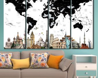 Black and white, Black and white map, World map, world map canvas, world map picture, canvas, Push pin travel map, world map push pin