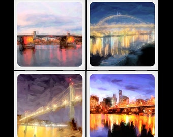 Portland Painted Bridges Noir - Ceramic Coaster Set