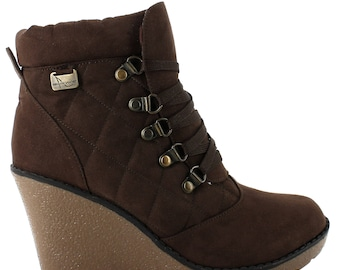 QQO wedged ankle bootie in brown