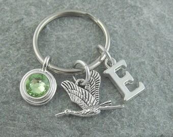 Stork keychain, stork keyring, bird keychain, initial keychain, personalized keyring, birthstone keychain, monogram keychain, bird keyring