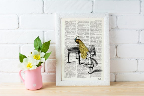 Alice in Wonderland- Alice with peacock- Wall art home decor poster print-  gift, giclee print, Dictionary art ALW028