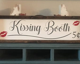 Valentine's Day, Valentine's Day decor, kissing booth wood sign, love sign, home decor