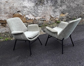 Paar Vintage Mid Century Sessel / Licht grün samt / Alvin Lustig style / Holzbelag /Lounge Stühle / 50er Jahre