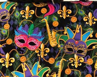 Mardi Gras masquerade mask fabric, New Orleans fabric, Fat Tuesday, carnival fabric, saxophone, fleur de lis fabric