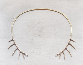 White Tail Stag Horn Handmade Bronze Choker Necklace