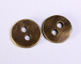 11mm antique brass button - 11mm 2 holes round button - 11mm metal button (1148)