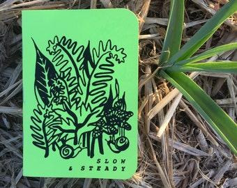 SLOW & STEADY Screenprinted Pocket Notebook -- Snail Greet Fern Forest Notebook
