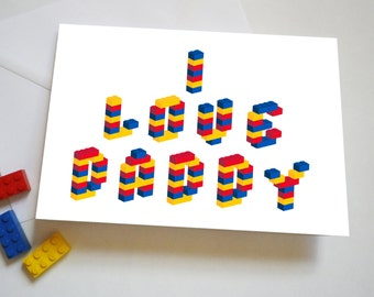 Personalised Building Brick Father's Day or Birthday Card