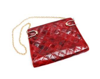 Vintage patchwork evening bag, square red leather, snake skin imitation clutch, shoulder strap and metal clasp, 1980s accessory, Perez Spain
