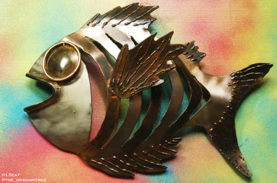 """Lance the Lunker, Hand Made Metal Fish Wall Piece, 16"""""""