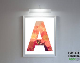"Floral Letter ""A"" - Digital Print for Instant Download"
