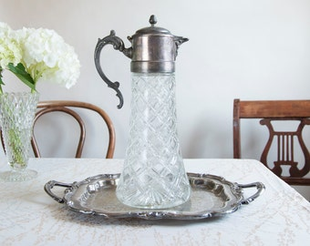 Glass Water Decanter Water Pitcher Wine Decanter Ornate Water Pitcher Cottage Chic Water Vessel Glass Water Carafe Wedding Table Decor