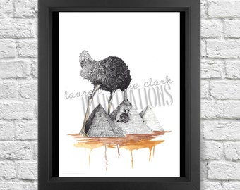 Ostrich and The Great Pyramids, Art Print, Illustration