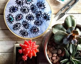 Sequin Eyeball Art Hand Embroidery