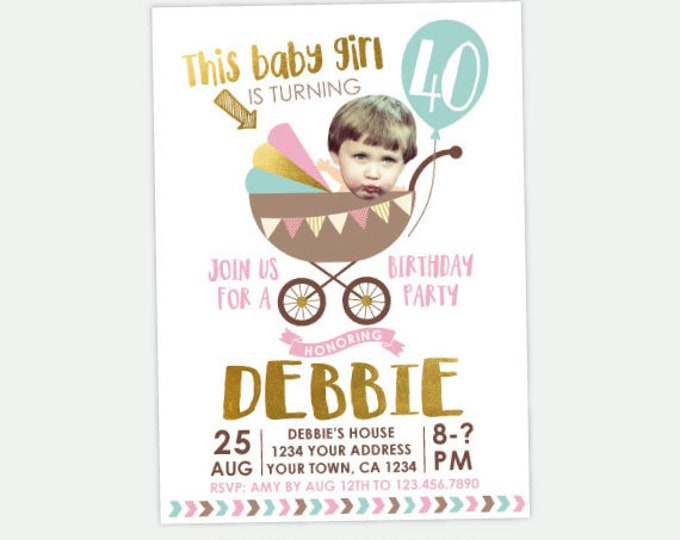 Adult Birthday Invitation with photo, Funny Adult Birthday Invitation, 30, 40, 50 Birthday Invitation, Any age Personalized DIGITAL Invite