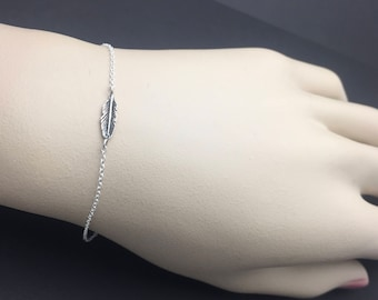 Dainty All Sterling Silver feather Bracelet , feather charm, love bracelet, friendship bracelet, family bracelet, christmas gift