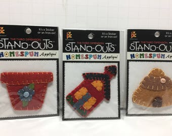 Applique, Red Planter, Red School House, Beehive, Homespun Applique, Crafts, Clothing,Scrapbooks,On Iron, Sticker, Stand Outs