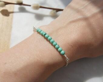 Silver & Turquoise Beaded Bar Bracelet
