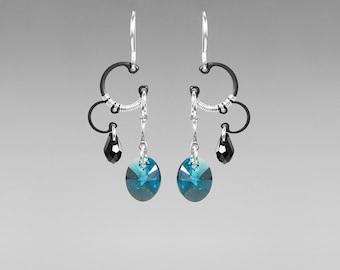 Indicolite Swarovski Crystal Industrial Earrings, Swarovski Earrings, Aqua Crystals, Graceful Earrings, Unique Jewelry, Helike II v4