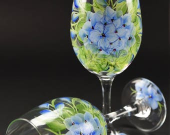 Hand Painted Large Wine Glass / Soft Blue Hydrangeas On Clear Glass