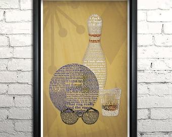 "Big Lebowski word art print - 11x17"" Framed"