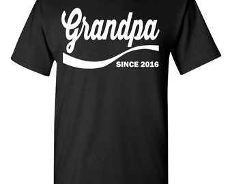 Grandpa Since ???? Fathers Day Gift Baby Shower Reunion Dad PICK YOUR YEAR and Color Men's Tee Shirt 1338