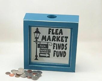 Flea Market Finds shadow box bank, piggy bank, coin collection savings box