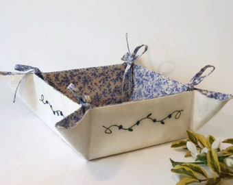 Linen Storage Basket , Handmade Square Fabric Basket , Linen and Silk Basket ,Linen Organizer Fabric Bread Bin , Embroidered Organizer