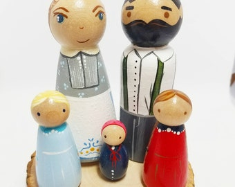 Little House on the Prairie Peg Doll Set// Storybook Peg Doll// Wooden Toys // Laura Ingalls Doll
