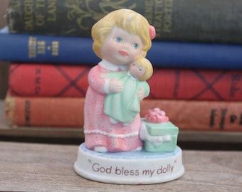 """Little Girl Figurine Vintage 1990 Avon Tender Memories """"God Bless my Dolly"""" Little Blonde Girl Holding Doll Baby Girl Figurine Nursery Decor"""