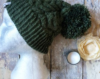Womens, ladies, teens, cosy winter, ski, cable knit, Aran, slouch, beanie hat with pompom, fashion, gift ideas