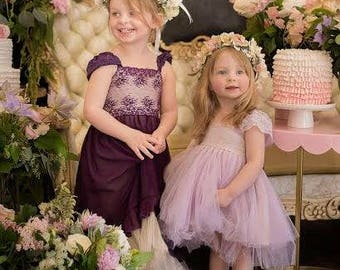 Lavender flower girl dress French lace and silk tulle dress for baby girl lilac flower girl dress