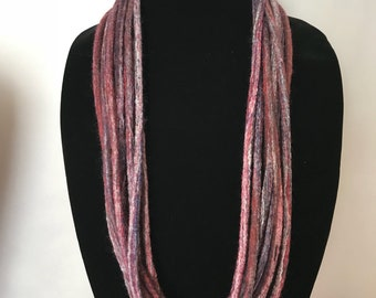 Felted Necklace Multi Color Infinity Long Merino Wool Silk - Red