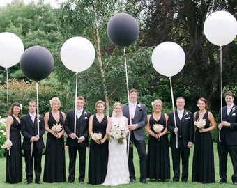 "Wedding Balloons Giant Balloon 36"" Or Large Balloon 24"" Wedding Decorations Black Balloons Wedding Photo Prop Birthday Balloons Huge Balloon"