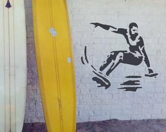 Surfing Man STENCIL Interior Decor Surfer Template Board Waves Craft